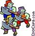 three axe men - cartoon Vector Clip Art image