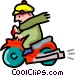 scooter and rider - cartoon Vector Clip Art graphic