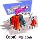 bull fighter and bull Vector Clipart illustration