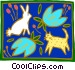 rabbit cat and flowers Vector Clip Art graphic