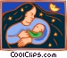 Mother night and child Vector Clip Art image