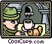 hunter with coffee and Vector Clipart graphic