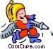 fireman and hose - cartoon Vector Clipart graphic