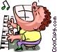 piano man - cartoon Vector Clipart illustration