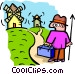 going to the windmills - Vector Clipart illustration