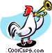 rooster playing reveille Vector Clipart graphic