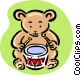 teddy playing drum Vector Clipart picture
