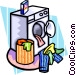 clothes in dryer Vector Clipart illustration
