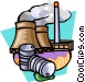 smoke stacks - pollution Vector Clip Art picture
