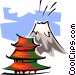 pagoda by volcano Vector Clipart illustration