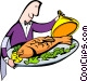 fish platter and waiter Vector Clipart graphic