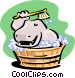 hippo having a bath Vector Clipart picture