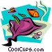 aquatic design with manta ray Vector Clipart illustration