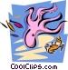 aquatic design with octopus Vector Clip Art image