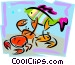 aquatic design with fish and Vector Clip Art image