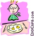 boy with breakfast eggs - Vector Clip Art picture