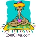 Eastern man meditating Vector Clip Art image