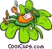 Leprechaun in clover smoking Vector Clip Art picture