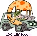 giraffe with safari man Vector Clipart picture