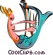 mermaid with harp Vector Clipart image