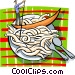 Man in gondola in plate of Vector Clip Art graphic