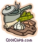 Soup pot with garlic and Vector Clip Art picture