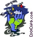 world and surrounding Vector Clip Art image