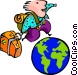 globe traveler Vector Clipart graphic