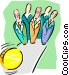 business bowling pins and ball Vector Clipart picture