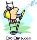 worker on ladder Vector Clip Art image
