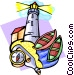 lighthouse scene Vector Clipart illustration