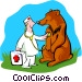 Veterinarian checking on bear Vector Clipart graphic
