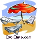 Beach chairs and umbrella Vector Clip Art graphic