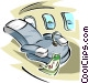 airplane seat Vector Clipart graphic
