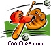 bat, ball, glove and hat Vector Clip Art graphic