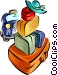 luggage with taxi - travel Vector Clipart illustration