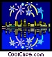 Fireworks over the city Vector Clipart illustration