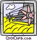wheat harvester Vector Clip Art image