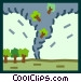 tornado sucking trees Vector Clipart picture