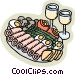 appetizer platter Vector Clipart graphic