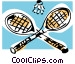 Badminton rackets and birdie Vector Clipart image