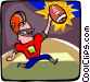 Football player celebrating touchdown Vector Clipart graphic