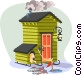 winter ice-fishing shack Vector Clipart illustration