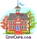 Traditional schoolhouse Vector Clip Art graphic