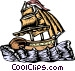 Ship woodcut style Vector Clip Art graphic