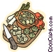 stew pot with vegetables Vector Clipart illustration