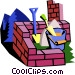 brick wall with construction Vector Clipart image