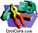 vice with pliers Vector Clip Art graphic