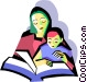 Mother with child reading Vector Clip Art graphic