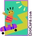 children at play/skateboarding Vector Clip Art image